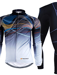 Nuckily Cycling Jersey with Tights Men's Long Sleeves Bike Clothing Suits Waterproof Thermal / Warm Windproof Rain-Proof Reflective Strips