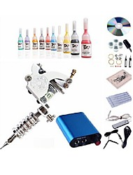 cheap -Tattoo Machine Starter Kit 1 steel machine liner & shader Mini power supply 1 x aluminum grip 10 pcs Tattoo Needles