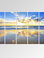 cheap -VISUAL STAR®Beautiful Seascape Canvas Print Gloden Beach Canvas Art Ready to Hang