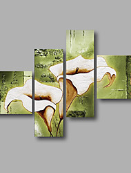 "cheap -Ready to Hang Stretched Hand-painted Oil Painting 64""x44"" Canvas Wall Art Modern Flowers Light White Lily"