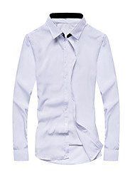 cheap -Men's Daily Formal Work Shirt,Solid Patchwork Long Sleeves Cotton