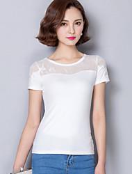 baratos -Mulheres Tamanhos Grandes Camiseta Moda de Rua Renda, Sólido Algodão