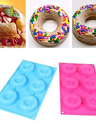 6 Cavity Doughnut Donut Bundt Ring Cake Chocolate Dessert Silicone Mold Decor Kits Random Color