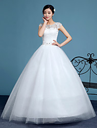 cheap -Ball Gown Illusion Neckline Floor Length Lace Tulle Wedding Dress with Beading Appliques by QQC Bridal