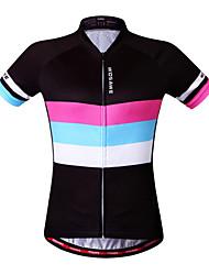 WOSAWE Maglia da ciclismo Per donna Manica corta Bicicletta Felpa Maglietta/Maglia Top Asciugatura rapida Antivento Design anatomico