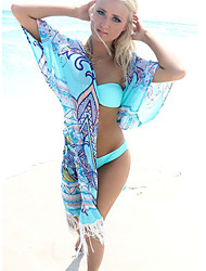 cheap -Women's Boho Halter Cover-Ups,Plunging Neckline / Tassels / Floral Wireless / Padless Bra Chiffon / Polyester Blue