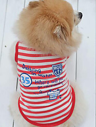 cheap -Dog Shirt / T-Shirt Vest Dog Clothes Stripe Letter & Number Red Blue Terylene Costume For Pets Men's Women's Fashion