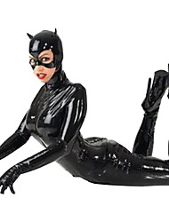 Sexy Black Zipper Catsuit Bat Superhero Zentai Halloween Costume For Women