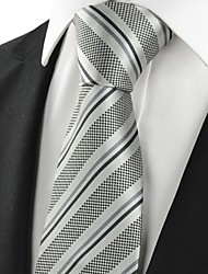 cheap -New Striped Grey Black Classic Mens Tie Necktie Wedding Party Holiday Gift #1049