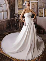 cheap -Ball Gown Strapless Cathedral Train Chiffon Custom Wedding Dresses with Beading by LAN TING BRIDE®