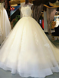cheap -Ball Gown Scoop Neck Chapel Train Tulle Wedding Dress with Beading by Embroidered bridal
