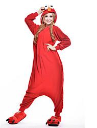 cheap -Kigurumi Pajamas Cookie Anime Monster Onesie Pajamas Costume Polar Fleece Red Cosplay For Adults' Animal Sleepwear Cartoon Halloween