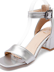 levne -Dámské Boty Koženka Jaro Léto Pohodlné Sandály Chůze Kačenka Otevřený palec Přezky pro Ležérní Šaty Zlatá Bílá Stříbrná