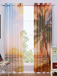 cheap -Grommet Top Two Panels Curtain Modern , Print Nature & Landscapes Living Room Polyester Material Sheer Curtains Shades Home Decoration