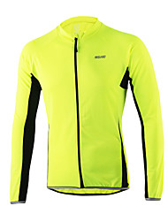 Arsuxeo Cycling Jersey Men's Long Sleeves Bike Jersey Reflective Strip Fast Dry Breathability Softness 100% Polyester Patchwork
