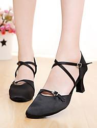 SUN LISA Women's Dance Shoes Latin / Modern / Salsa Satin Heel Black / Brown Customizable