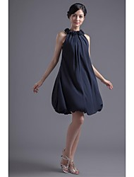 A-Line Jewel Neck Short / Mini Chiffon Bridesmaid Dress with Flower(s) by LAN TING BRIDE®
