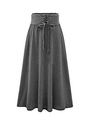 cheap -Women's Daily Midi Skirts,Vintage A Line Cotton Solid Spring Fall