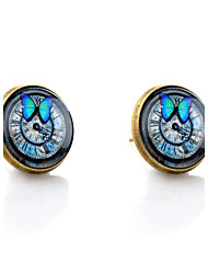 cheap -Lureme® Vintage Jewelry Time Gem Series Butterfly and Clock Antique Bronze Stud Earrings for Women and Girls