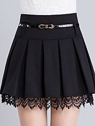 cheap -Women's Vintage Cute Plus Size A Line Skirts - Solid Colored, Lace Ruffle