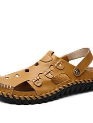 Недорогие -Муж. Кожа / Искусственная кожа Весна / Лето Удобная обувь Сандалии Черный / Желтый / Темно-коричневый