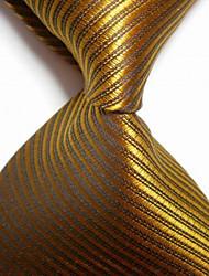 abordables -la mode des hommes bronzer rayé jacquard cravate tissée cravate