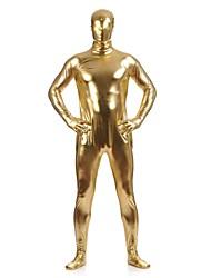 """Недорогие -Блестящие костюмы на все тело """"зентай"""" Кожаный костюм Костюмы на все тело """"зентай"""" Ниндзя Взрослые Косплэй костюмы Золотой Однотонный Спандекс Блестящий металл Муж. Жен. Рождество Хэллоуин"""