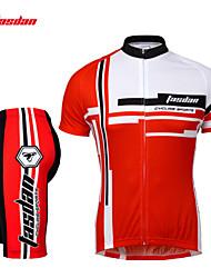 preiswerte -TASDAN Herrn Kurzarm Fahrradtriktot mit Fahrradhosen - Rot Blau Fahhrad Shorts/Laufshorts Trikot/Radtrikot Kleidungs-Sets, Rasche