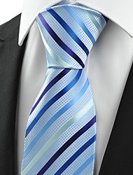 cheap -Striped Light Blue JACQUARD Men's Tie Formal Necktie Wedding Holiday Gift #0017