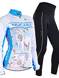 cheap -Nuckily Men's Women's Long Sleeves Cycling Jersey with Tights - Blue Floral / Botanical Geometic Bike Clothing Suits, Thermal / Warm,