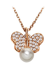 Men's Women's Pendant Necklaces Pearl Necklace Crystal Animal Shape Butterfly Pearl Crystal Imitation Pearl Cubic Zirconia Alloy Fashion