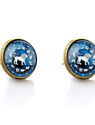 Stud Earrings Simple Style Synthetic Gemstones Glass Alloy Animal Shape Lion Jewelry For Wedding Party Daily Casual
