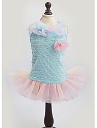 abordables -Chat Chien Robe Vêtements pour Chien Floral / Botanique Nœud papillon Jaune Bleu Coton Costume Pour les animaux domestiques Femme Mode