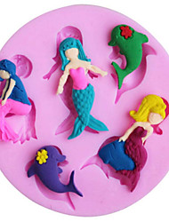 cheap -Super Beautiful Mermaid Dolphin Silicon Fondant Molds Gum Tragacanth Moulds Cake Decorating Tools