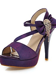 Women's Shoes Cone Heel Comfort / Round Toe Sandals Wedding / Office & Career / Dress Black / Purple / Red / White