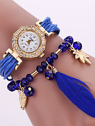 cheap -Women's Quartz Analog White Case Feather Owl Pendant Leather Band Bracelet Wrist Watch Jewelry Cool Watches Unique Watches Fashion Watch