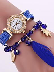 Femme Montre Tendance Bracelet de Montre Quartz Owl style Cuir Bande Fleur Chouette Noir Blanc Bleu Rouge