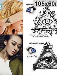 abordables -mode autocollant de tatouage imperméable de halloween terreur yeux triangle grands motifs 3d autocollants de tatouage temporaire