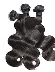 Cabelo Humano Cabelo Malaio Cabelo Humano Ondulado Ondulado Extensões de cabelo 3 Peças Preto