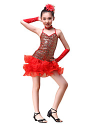 cheap -Latin Dance Outfits Children's Performance  Sequined Flower(s) / Ruffles / Sequins 5 Pieces Red / Yellow / Sky blue