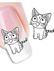 5Pcs/Set Water Transfer Nail Stickers Cute Cat Design 3D Manicure Beauty Product For Nails Stamp Water Decals
