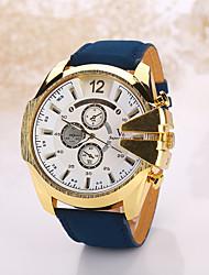 Masculino Relógio de Pulso Relógio Casual Quartzo Couro Banda Preta Branco
