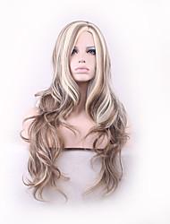 Натуральный длинный коричневый цвет с блондинкой тело волна подчеркивает парик для женщины новая мода 2016 парики