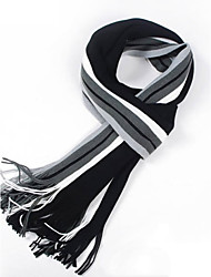cheap -The Latest Men's Striped Scarf Long Korean Spell Color Knit Warm Scarves