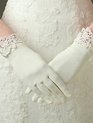 cheap -Nylon Elastic Satin Elbow Length Glove Bridal Gloves Party/ Evening Gloves With Appliques