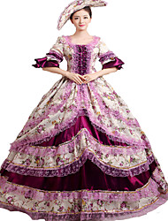 cheap -Rococo / Victorian Costume Women's Dress / Party Costume / Masquerade Purple Vintage Cosplay Lace / Satin Long Sleeve Bell Sleeve Long