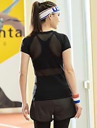 Dame Løbe-T-shirt Kortærmet Hurtigtørrende T-Shirt Toppe for Yoga Træning & Fitness Racing Løb Tactel S M L
