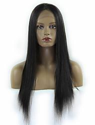 baratos -Seda 10-30inch reta cabelo virgem brasileiro cor natural dianteira do laço peruca