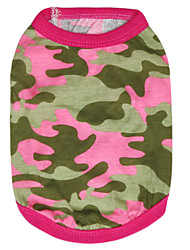 Недорогие -Кошка Собака Футболка Одежда для собак камуфляж Розовый Зеленый Хлопок Костюм Для домашних животных Муж. Жен. Мода