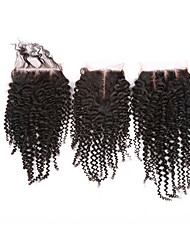 cheap -Kinky Curly Classic Full Lace 4x4 Closure 100% Hand Tied Swiss Lace Human Hair Free Part Middle Part 3 Part High Quality Classic Daily